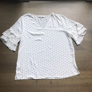 NWOT loft size M white black polka dot blouse